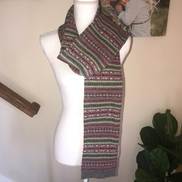 7aa5aec4c6c Eddie Bauer lambs wool knit scarf multicolor NWT